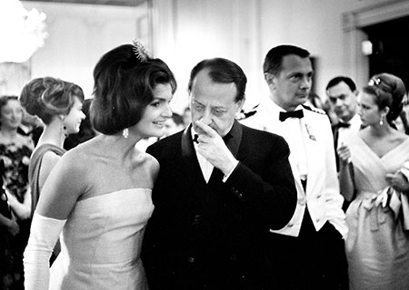 Jacqueline Kennedy at Dinner in honor of Andre Malraux, Minister of State for Cultural Affairs of France, 1963