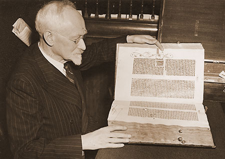 Book Dealer Ernest Maggs inspects Gutenberg Bible Number 45