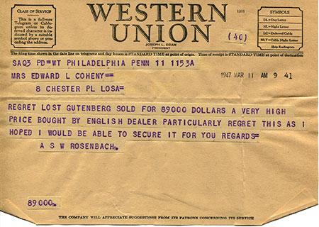 Gutenberg Bible Western Union Telegram - Margaret Leslie Davis