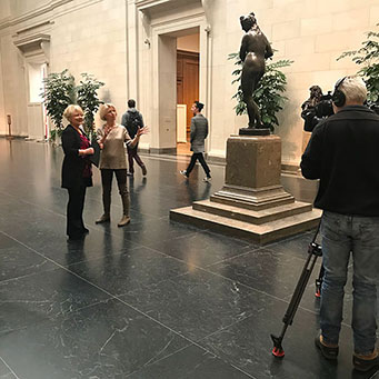 Margaret Leslie Davis with BBC America's Jane O'Brien at the National Gallery of Art, Washington DC