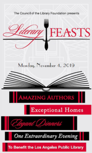 Los Angeles Public Library Literary Feasts Invitation, Monday, November 4, 2019