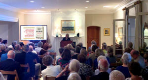 The author during her lecture series with The Lost Gutenberg, from Penguin Random House, Town Hall, Pasadena.