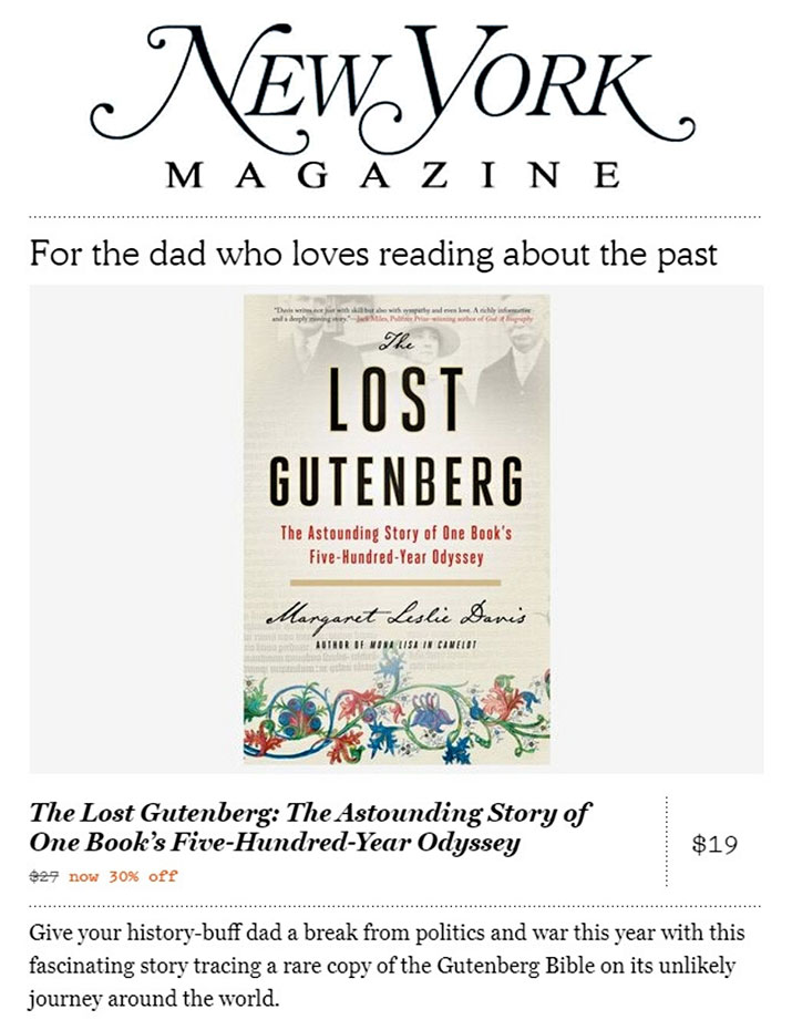 New York Magazine book review, The Lost Gutenberg